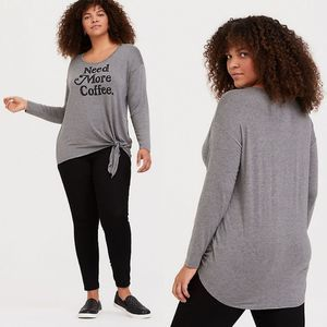 Torrid Need More Coffee Grey Tie Front Tunic Tee